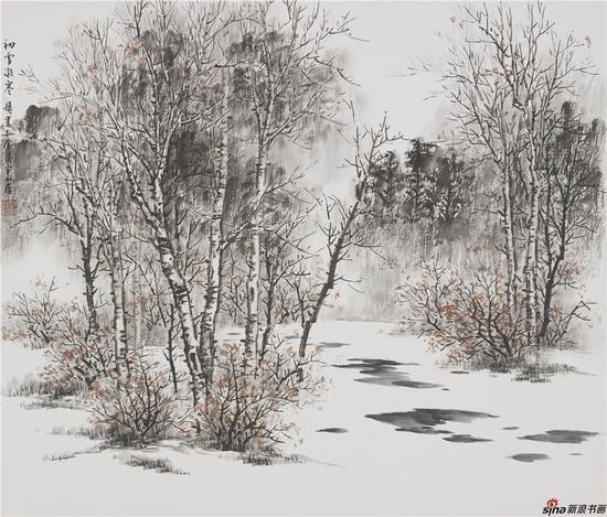 初雪凝寒 45×65