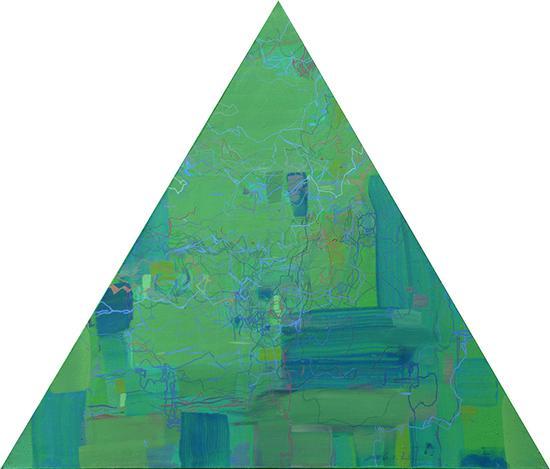 王远作品 《万牲园》布上油画 等边三角形 边长90cm×90cm 王远 2007——2011(3)