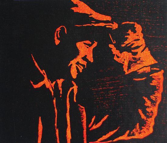 24。宋恩厚《又是一炉优质钢》木版套色21cm×25cm 1959年 湖北美术馆藏