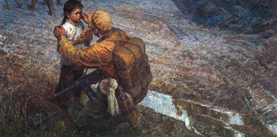 16。蔡迪安、李宗海《南下》布面油画96cm×194cm 1979年 中国美术馆藏