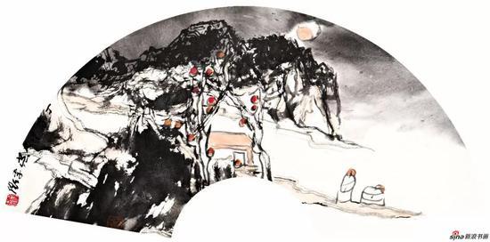 李卫作品《秋高月》 30x60cm