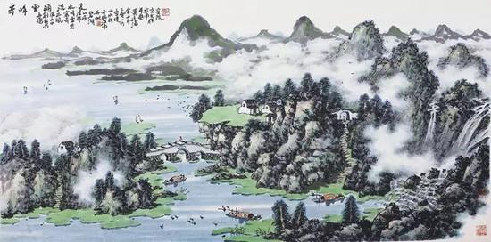 黄廷海奇峰云涌流水长 69x136cm