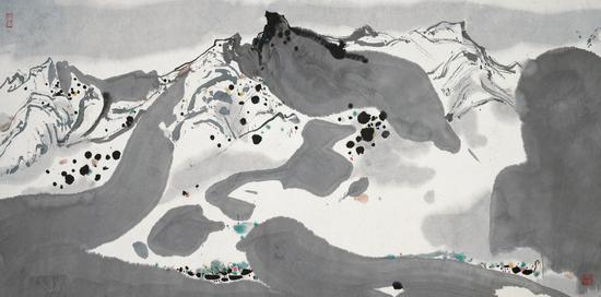 春雪 1983年 吴冠中 69×137厘米 纸本水墨设色 中国美术馆藏