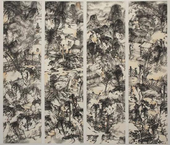 《林泉高致 》180×49cm×4 纸本水墨