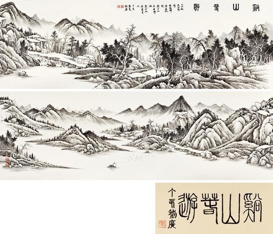 劉廣《溪山春游》 44cm×272cm 成交價:1,840,000.00元