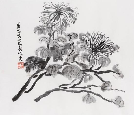 《菊花图》 Chrysanthemumfigure 115×45cm 纸本水墨 2018
