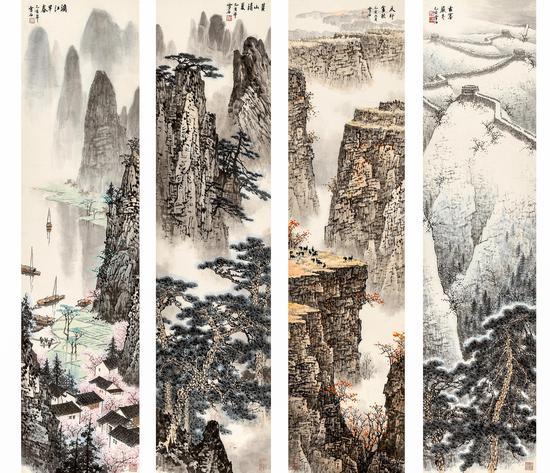 白雪石 春夏秋冬四屏 138×34 cm×4