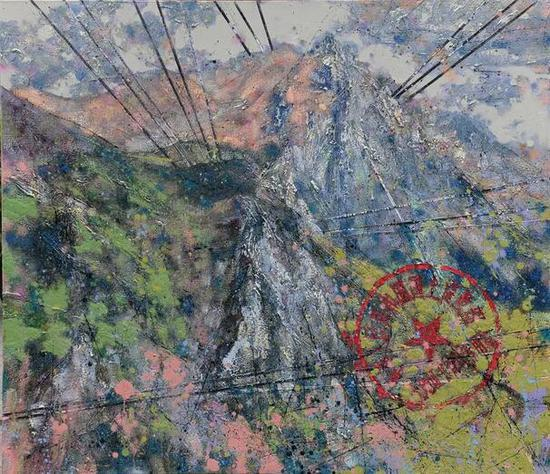 张杰《带红印的山水》之四 150cm×130cm 油画 2010