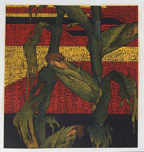 《苞米地No·3》版画,纸本、木版、油画套色,49×44cm,1985~1986年