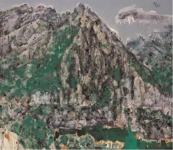张杰《绿色印记》之四 油画 150cm×130cm 2007