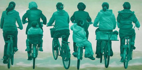 《on the way series No·13》油画,布面、油彩,150×300cm,2008年
