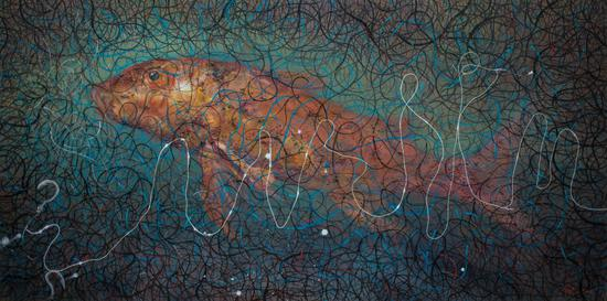 谭千尺《一条闪闪发光的白线》40x80cm,布面油画,2018年