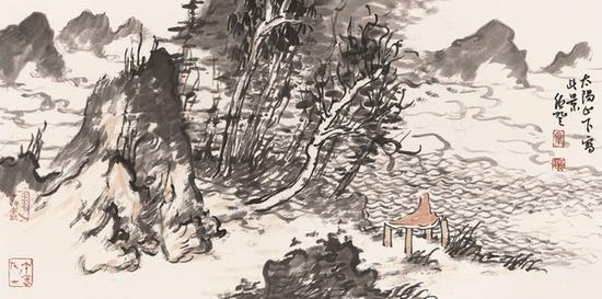 田绍登 太阳山下 34.5cm×69cm 纸本设色 2018年