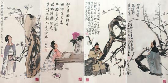 肖海春-精品人物四屏-68x34x4