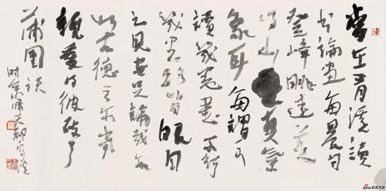 王迎春作品《石溪题画句》 80cm × 25cm 2017