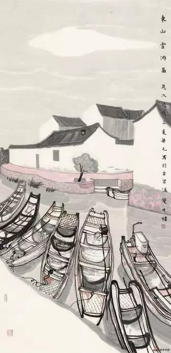 《东山云游图》 138cm×70cm 梁 元 江苏省中国画学会常务理事