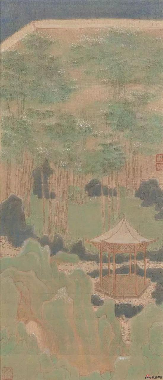 水木清华(一) 28x66cm 绢本设色 2017年