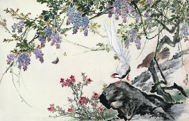王雪涛 《紫藤白鹇》122.5cm×191.5cm 无年款