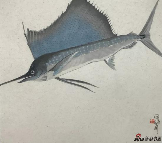 剑旗鱼 设色纸本 50×45cm