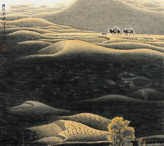 黄名芊《静行大漠》68x68cm