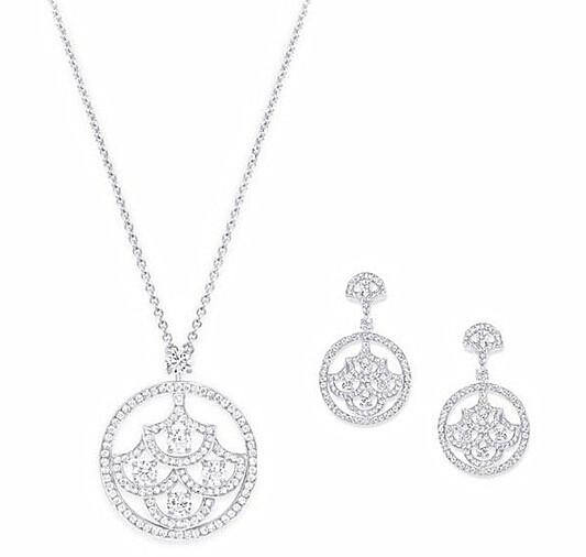 Graff 格拉夫 Icon系列圆形钻石耳环、项链
