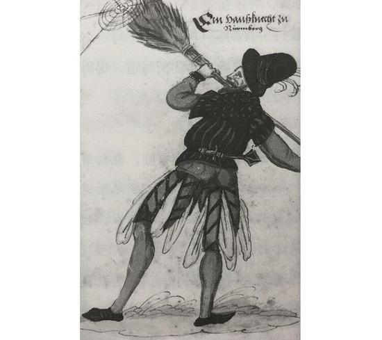 随身佩戴刀具是普遍风气,就连打扫房间的仆役都会随身携带(约1570年)