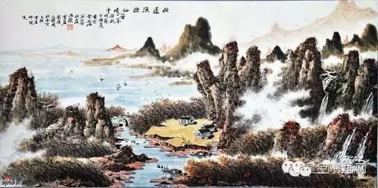 《秋芦渔歌仙境中》,2011年,69cmX136cm,黄廷海作