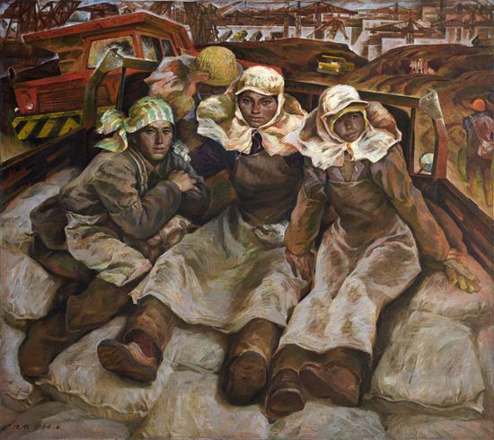 21。唐小禾、程犁《工地上的母亲》(《葛洲坝人》三联画之一) 布面油画140cm×157cm 1984年