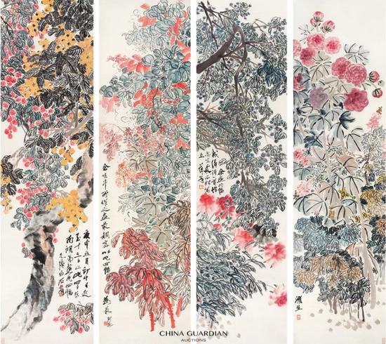 齐白石 (1864-1957)齐白石 (1864-1957)  福祚繁华  立轴 设色纸本  庚申(1920 年)作