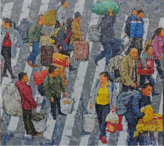 张杰《城市梦》之二 200cm×180cm 油画 2018