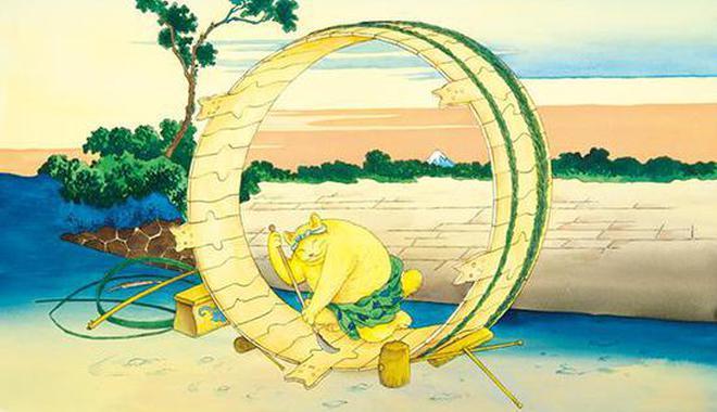 这只大黄猫钻进了葛饰北斋的经典浮世绘里