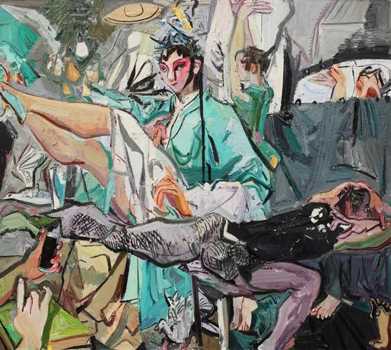 闫平《唱戏的人》 180x200cm 布面油画 2016年