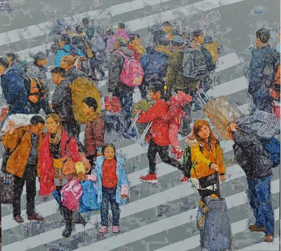 张杰《城市梦》之一 200cm×180cm 油画 2018