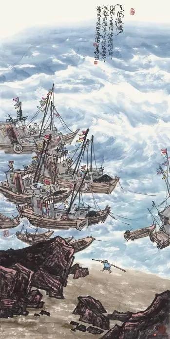 《天风海浪》 138cm×70cm 徐生华 江苏省中国画学会常务理事