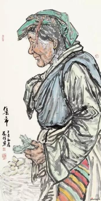 《集市》 136cm×68cm 刘 佳 江苏省中国画学会常务理事