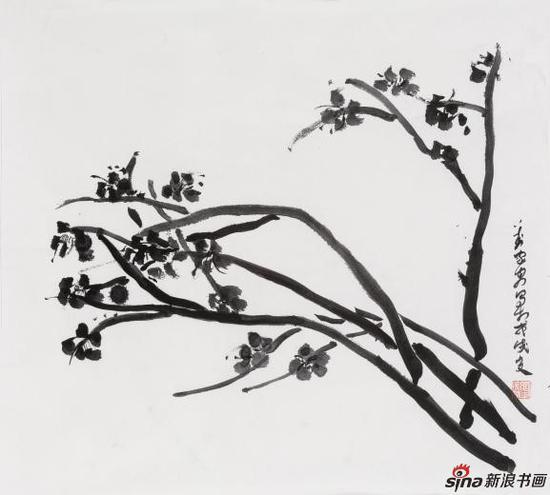《梅花图》 The plum blossom figure 55×65cm 纸本水墨 2018