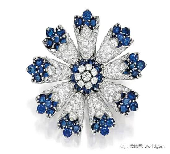 蓝宝石及钻石胸针   约1950年代
