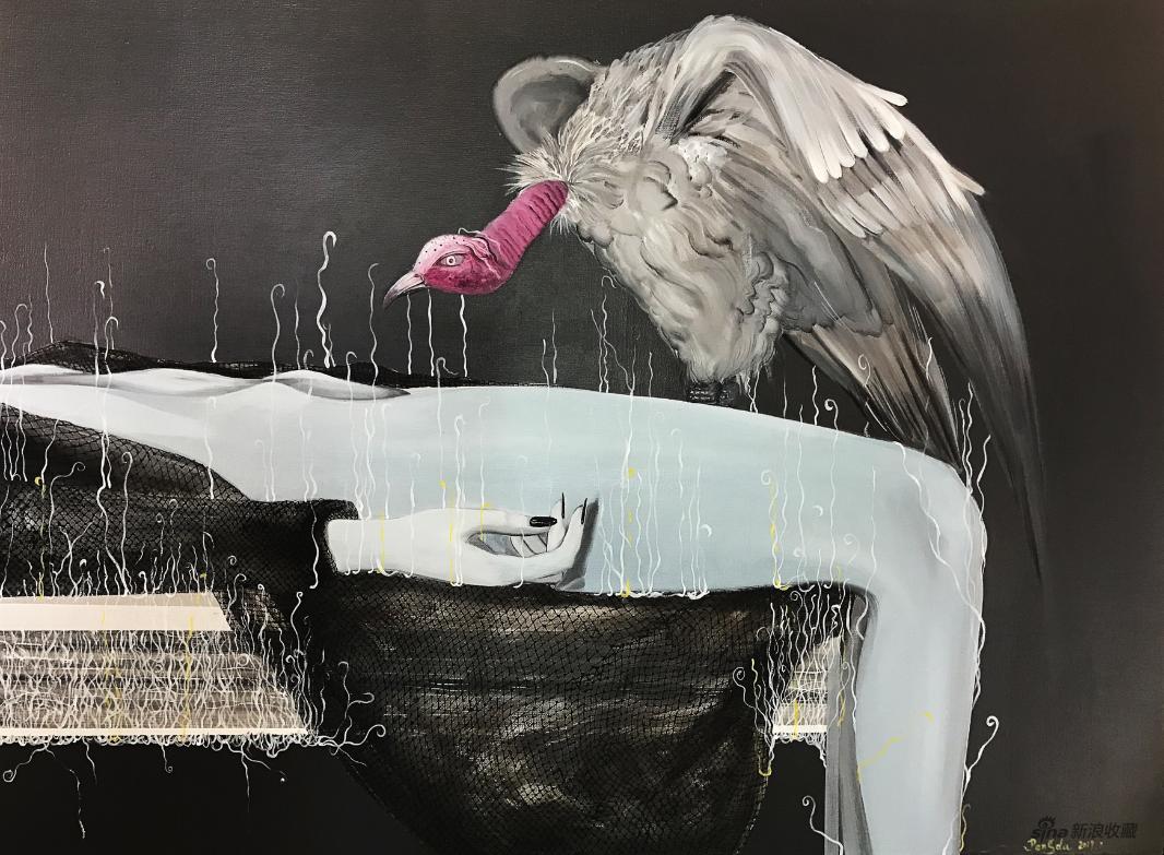 《瘟疫派对》 彭杜 布面油画 80×60cm 2017