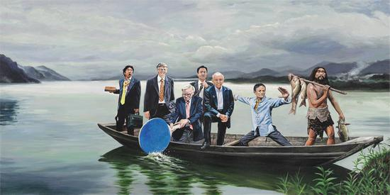上岸Go ashore 布面丙烯Acrylic on Canvas60x120cm 2018