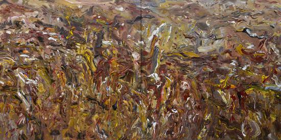 《壶口激荡》(黄河壶口瀑布传奇组画)Passionate Hukou (Huanghe River Hukou Legendary Series) 2013年8月300cm150cm 布面丙烯 Acrylic on canvas