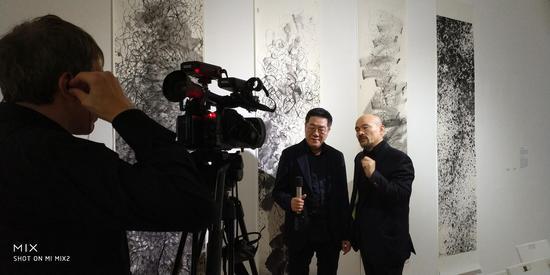 王璜生接受电视台采访