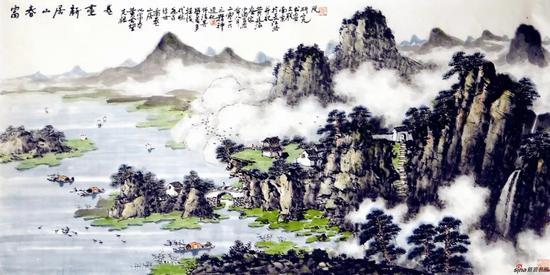 富春山居新画卷(69×136厘米,2016年)