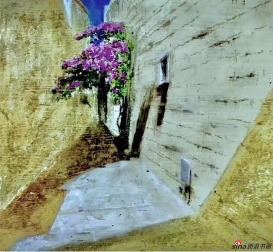 油画写生《三角梅 。 局部 》