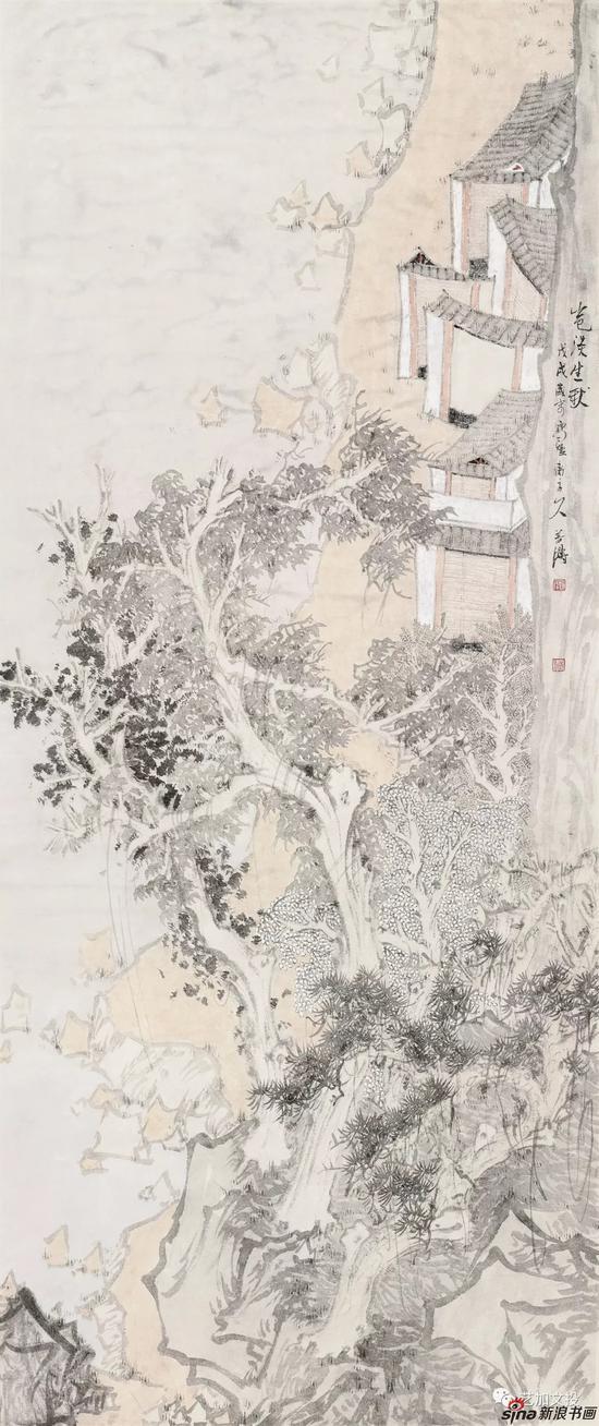 郭善涛《山水清音系列之一》174cm×73cm 2018年