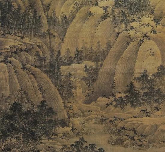 现藏台北故宫的巨然《秋山问道》局部