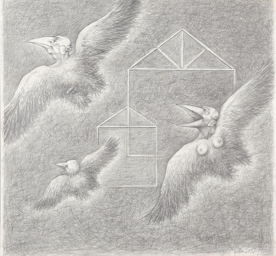 《飞系列》纸本素描 39x40cm 2007年 石磊