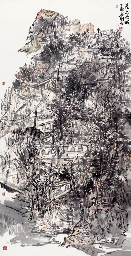 彭国昌 黄土高坡 136×68cm 纸本设色 2017