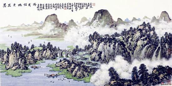 苍茫天地任我游(69×136厘米,2017年)