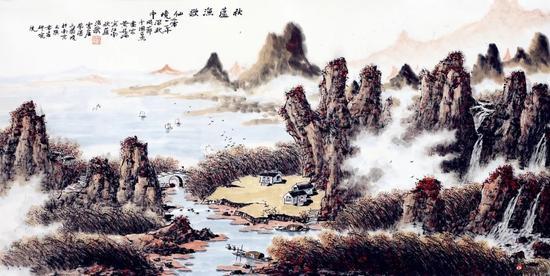 秋芦渔歌仙境中(68×138厘米,2012年)