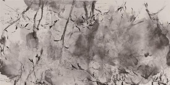 流动的俳句 Flowing Haiku,138×70cm,宣纸水墨,2020